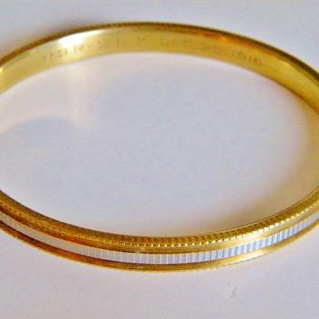 Antique Edwardian 14k 2 Tone Bangle Bracelet Hallmrkd 1916 Engagement Gift - Fine Jewelry
