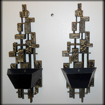 Syroco 1972 - Candle Wall Sconces - BRUTALIST Design - Lamps