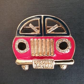 Bob Mackie VW Beetle brooch/pendant  - Costume Jewelry