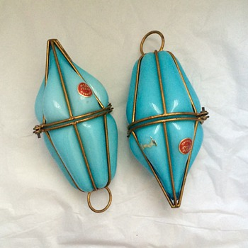 Vintage Murano Persian Blue Caged Light Pendants Pair Hanging Lamps 1950's