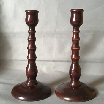 Antique mohagany candlesticks - Lamps