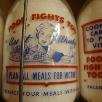 SANITARY DAIRY...WARREN OHIO...CREAMTOP WAR SLOGAN....WOMAN & FOOD FIGHTS TOO - Bottles