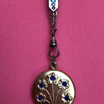"""Swivel locket with French coin inside, 48"""" chain with opal and pearl slide - Fine Jewelry"""