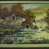 The who is this artist painting Oil on Canvas Old Buildings by the Water in Fall Scene