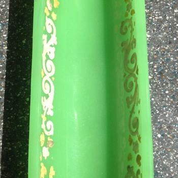 Uranium Jade like opaque glass pen rest. - Glassware