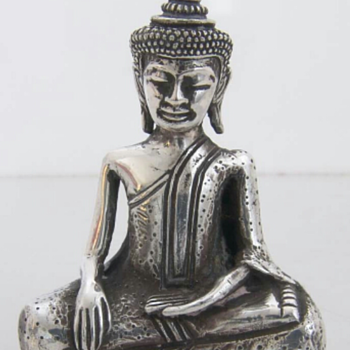 STERLING SILVER TIBETAN BUDDHA STATUE - Silver