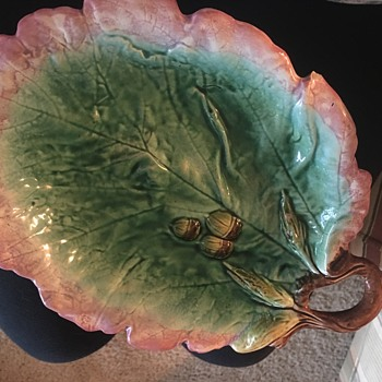 Majolica Oak Leaf Platter with Acorns - Pottery
