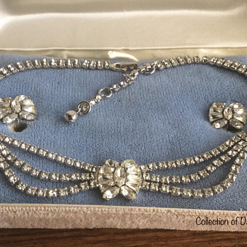 An Early Clear Sherman Necklace & Earring Set — Late 1940s - Costume Jewelry