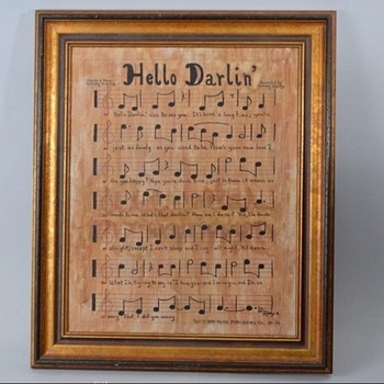 """""""Hello Darlin"""" One-of-a-Kind Musical Manuscript Oil on Canvas Signed W. Moyer, September 1971 - Music Memorabilia"""