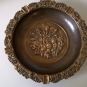 Large Embossed Brass/Bronze Ash Tray, Thrift Shop Find $3.50
