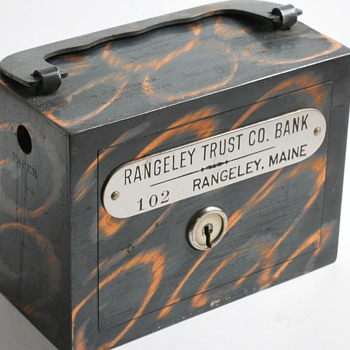 "Promotional Advertising Steel Bank"" Rangeley Trust Co.Bank, Rangeley,Maine, Circa 1905 - Coin Operated"