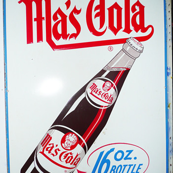 Ma's Cola Large Tin Vertical Sign  - Signs