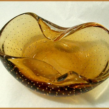 Murano Small Amber Bowl -- With Bubbles - Art Glass