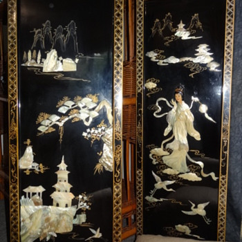 Chinese Black Lacquer Panels Mother of Pearl - Asian
