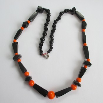 Bakelite black orange necklace - Costume Jewelry