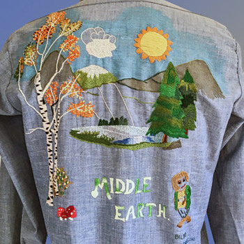 OOAK 1970's Lord of the Rings MIDDLE EARTH Embroidered Chambray Shirt - Folk Art