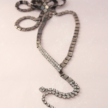 Long Gunmetal - Actually Belt - Lariat Necklace with Rhinestones - Costume Jewelry