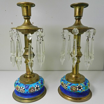 Antique LONGWY Candletsticks w/ Droplets