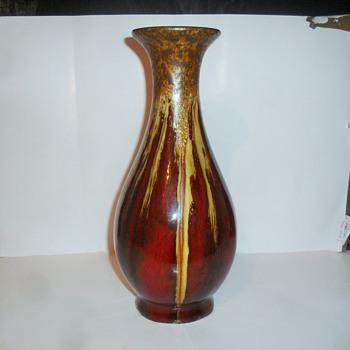 Flambe glazed pottery vase with gold crystalline - Pottery