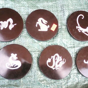 My black lacquer coasters with mother of pearl inlay - Asian