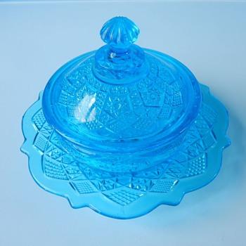 Blue Uranium Glass Dish - Glassware