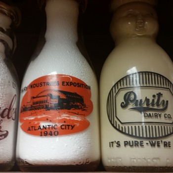 10 ounce Ferland's Baby Top, tall 1/2 pint Frozen Gold Baby Top, pint salesman sample Baby Top - Bottles