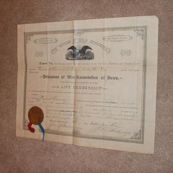Ex Union Prisoner Association membership document Andersonville survivor - Military and Wartime
