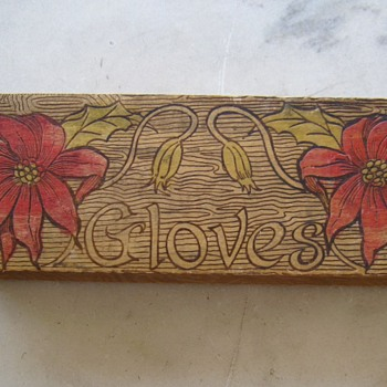 Wood burned glove box - Folk Art
