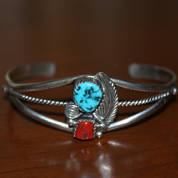 Coral and Turquoise Sterling Cuff Bracelet (Possibly Native American?) - Fine Jewelry