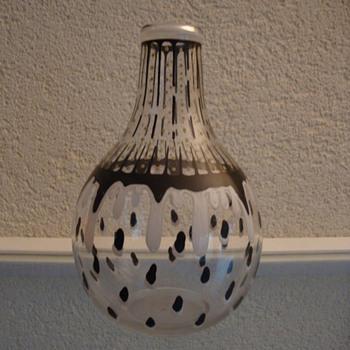 enamelled glass bottle by chris lanooy - Art Glass