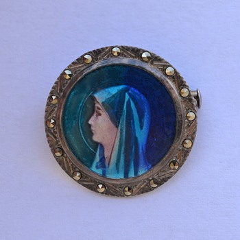 Antique Limoges Enamel Saint Fabiola Pin / Brooch - Fine Jewelry