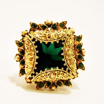 Vintage Florenza Ornate Emerald Ring