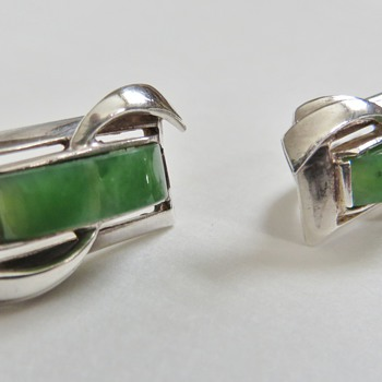 Russian Sterling & Jade Earrings~Nicely Made, Mrked 925 + Other Unknown mark