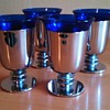 Art Deco Walter Von Nessen Cocktail Cups (Chrome and Cobalt Version)