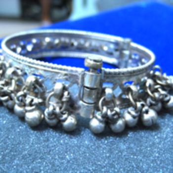Vintage Ethnic India Tribal Silver Anklet Bracelet Belly Dance  - Silver