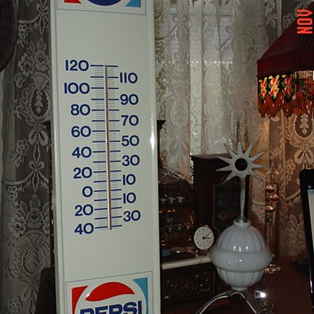 Pepsi Thermometer...Embossed...Feb. 1973 - Signs