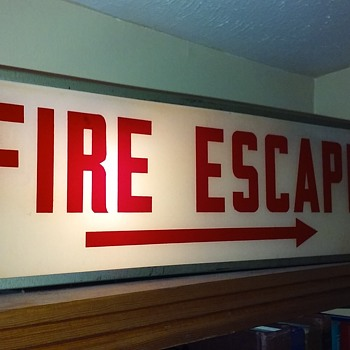 old lighted FIRE ESCAPE sign - Lamps