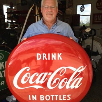 "Coca-Cola Porcelain 36"" Disc (Button) Sign...Drink Coca-Cola In Bottles...Excellent Condition...1950's - Coca-Cola"
