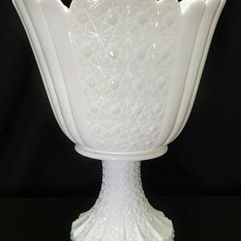 Fenton Milk Glass Daisy & Button Pattern Huge Footed Pedestal Vase - Glassware