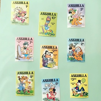 1981 Vintage Disney Easter Stamps from Anguilla - Stamps