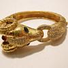 Vintage Ciner Jeweled Golden Ram Bangle