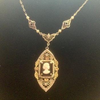 So Sweet Art Nouveau Lavalier Cameo Necklace - Costume Jewelry