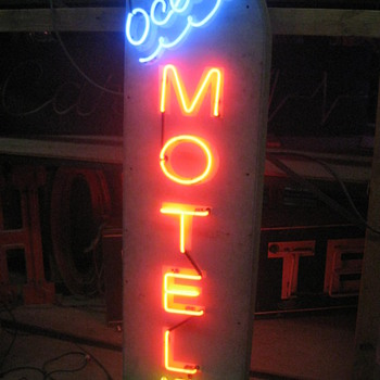 Vintage 1970's Neon OCEAN MOTEL / NO VACANCY sign 2-sided WOOD sign - Signs