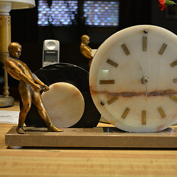 French Art Deco Slave to Time Clock 1925-30