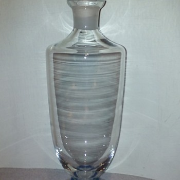 glass (crystal?) decanter with blue ringed stem base - Glassware