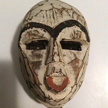 WOODEN FACE ON METAL STAND FROM GHANA - Fine Art