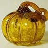 Pumpkin Amber Crackle Art Glass, 20 Century