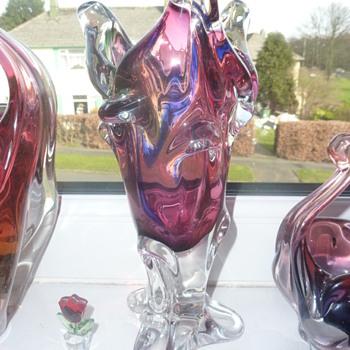 gorgeous rainbow effect vase  - Art Glass