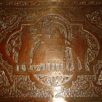 Copper/brass tray - Folk Art
