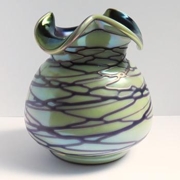 Kralik Iridescent Threaded Tricorn Vase - Art Glass